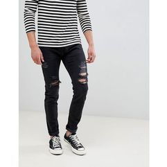 Abercrombie & Fitch skinny fit destroyed jeans in black - Black, kolor czarny