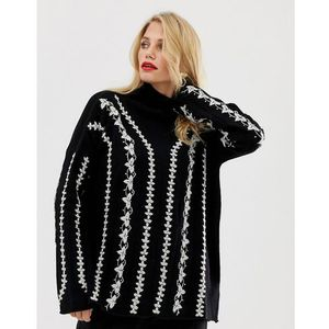 French Connection Ella whipstitch knit jumper in wool blend - Black, w 4 rozmiarach