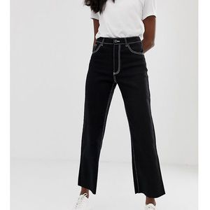 Noisy May Tall wide leg crop jean with contrast stitch - Black, 1 rozmiar