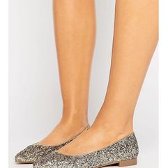 ASOS LACEY Wide Fit Pointed Ballet Flats - Gold