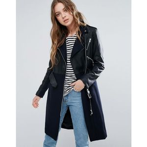 French Connection Idol Belted Contrast Wool PU Biker Trench - Black, kolor czarny
