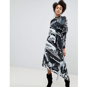 Asos x star wars printed long sleeve hanky hem dress - multi, Asos design