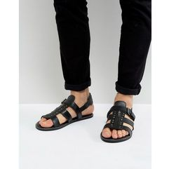 Asos sandals in black leather with studs - black