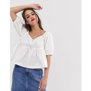 Free People Veronica Sweetheart puff sleeve top - White
