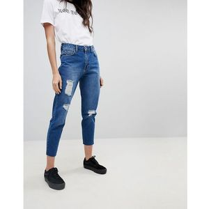Kubban raw hem distressed hem mom jeans - blue
