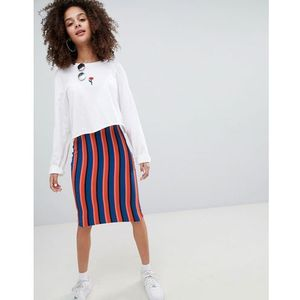 bright striped midi skirt in multi - multi marki Bershka