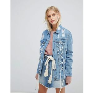 Current air distressed girlfriend fit denim jacket with lace up detail - blue