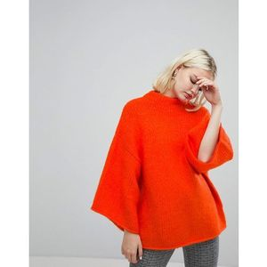 Monki High Neck Wide Sleeve Jumper - Orange