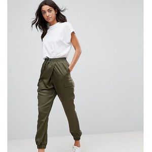 woven wrap front utility jogger with clean cuff - green marki Asos tall