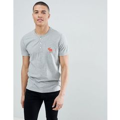 large icon logo henley t-shirt in grey marl - grey, Abercrombie & fitch, XS-XL