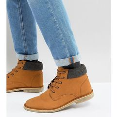 Asos wide fit worker desert boots in tan leather - tan marki Asos design