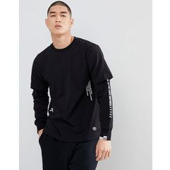 AAPE By A Bathing Ape Long Sleeve Layered T-Shirt With Sleeve Print in Black - Black