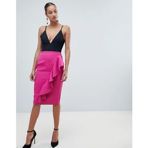 Vesper pencil skirt with asymmetric frill - pink