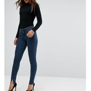 lisbon mid rise skinny jeans in amelie darkwash with vent hem - blue, Asos tall
