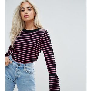 ASOS PETITE Jumper with Stripe and Fluted Sleeve - Multi