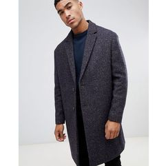 ASOS DESIGN wool mix overcoat in herringbone in brown - Brown, wełna