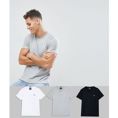 Abercrombie & Fitch 3 pack v-neck t-shirt icon logo in white/grey/black - Multi