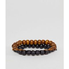 ASOS DESIGN beaded bracelet pack in black and brown - Black