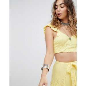 Kiss The Sky Tie Back Crop Top In Lace Co-Ord - Yellow, w 2 rozmiarach