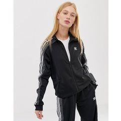 Adidas originals three stripe high neck track jacket - black