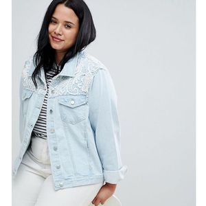 rayola denim jacket with crochet insert - blue marki Brave soul plus