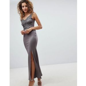 Ax paris Ax patis a line maxi dress with embellished detail - grey