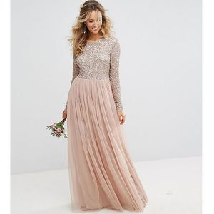 Maya Bridesmaid long sleeved maxi dress with delicate sequin and tulle skirt - Brown, kolor brązowy