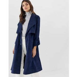 patty flared drape trench coat - navy, French connection