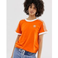 adidas Originals three stripe t-shirt in orange - Orange