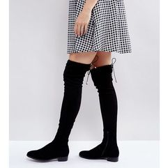 Asos keep up flat over the knee boots - black, Asos design