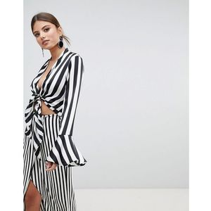 tie front striped top - black, Missguided