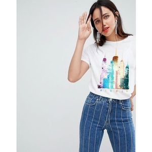 sequin skyline tee - white marki Stradivarius