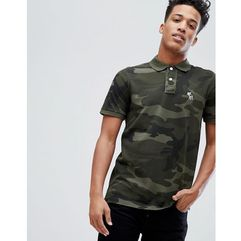 Abercrombie & Fitch Core Slim Fit Polo With Moose Icon in Green Camo - Green, kolor zielony