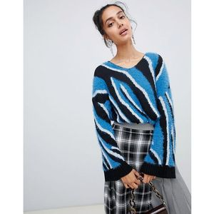 Lost ink tunic jumper in zebra intarsia - multi