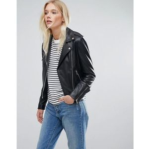 Lab Leather Biker Jacket - Black, skóra