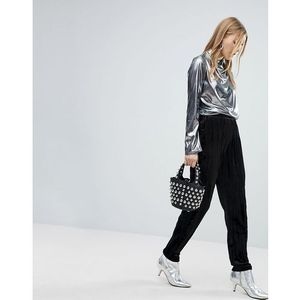 Pieces Velvet Cigarette Trouser - Black