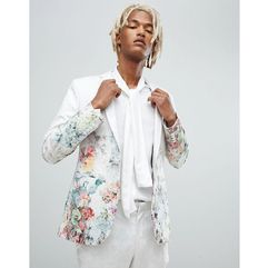 ASOS DESIGN skinny suit jacket in floral printed white jacquard - White