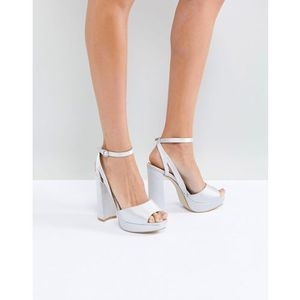 bridal katia grey satin platform heeled sandals - grey marki Be mine