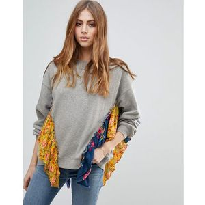 Free people she's just cute floral trim sweater - grey