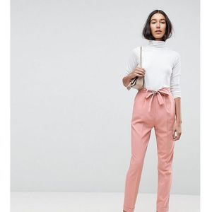 woven peg trousers with obi tie - pink, Asos tall