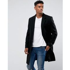 ASOS Wool Mix Overcoat In Black - Black, wełna