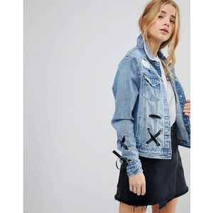 lace up denim jacket - blue, Urban bliss