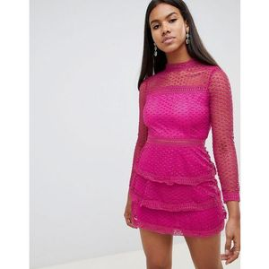 long sleeve crochet lace mini dress with tiered skirt - pink marki Ax paris