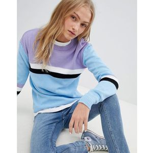 Daisy Street Relaxed Jumper With Colour Block Stripe - Blue