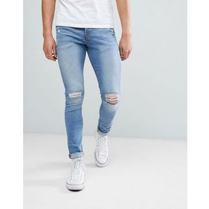 Hoxton Denim Super Skinny Jeans in Mid Blue - Blue, kolor niebieski