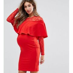 Asos maternity nursing ruffle front lace mix bodycon mini dress - red, Asos maternity - nursing