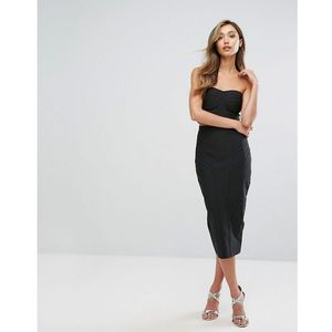 occasion bandage bandeau midi skirt and crop top co-ord - black, Amy lynn