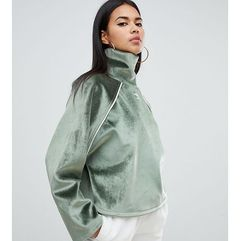 adidas Originals Faux Fur High Neck Top In Green - Green, kolor zielony
