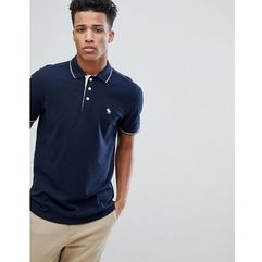 Abercrombie & Fitch Stretch Core Moose Logo Tipped Slim Fit Polo in Navy - Navy, kolor szary
