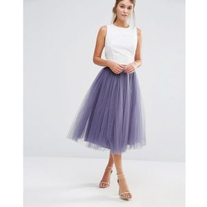 Little Mistress Tulle Midi Prom Skirt - Grey